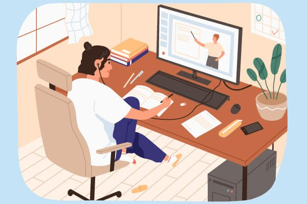 Image of illustrated person working from home online