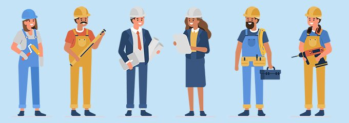 Illustrated image of a group of construction workers